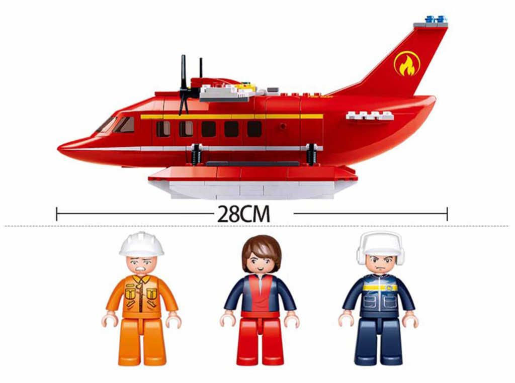 SLUBAN Stavebnice FIRE Hasičský vrtulník set 348 dílků + figurka 3ks plast