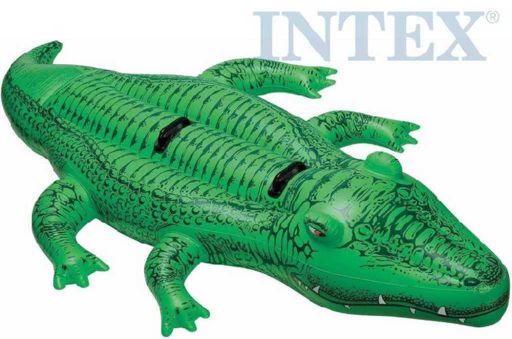 INTEX Krokodýl nafukovací 203x114cm vozítko do vody s úchyty 58562