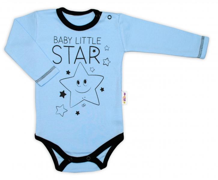 Baby Nellys Body dlouhý rukáv, modré, Baby Little
