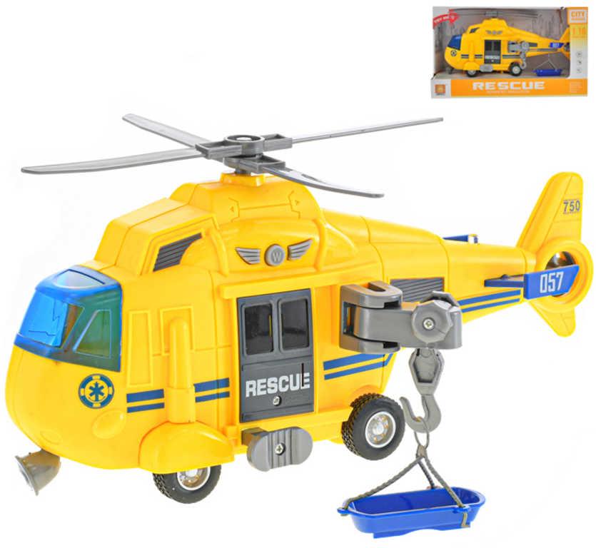 Helikoptéra záchranářská 28cm na setrvačník na baterie Světlo Zvuk plast
