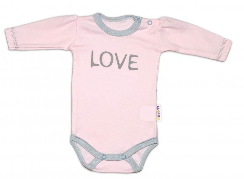 Baby Nellys Body dlouhý rukáv Love - růžové - 50 (0-1m)