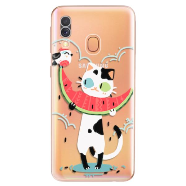 Odolné silikonové pouzdro iSaprio - Cat with melon - Samsung Galaxy A40
