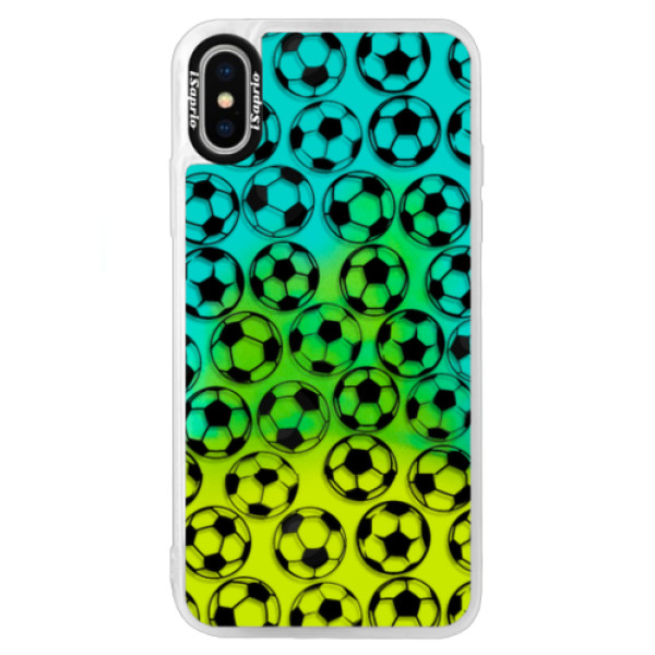 Neonové pouzdro Blue iSaprio - Football pattern - black - iPhone X
