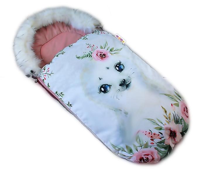 Fusak Baby Nellys Winter Friends Lux velvet s kožešinkou, 105x55 cm - lachtan/pudrově růž.