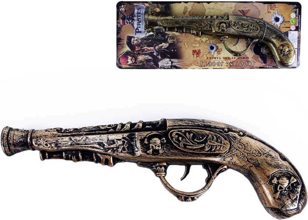 Pistole dětská 30cm pirátská bambitka zdobená plast na kartě
