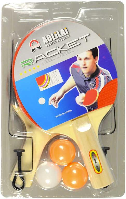 Pinpongový set pálka 2ks + míček 3ks s úchyty na síť na stolní tenis