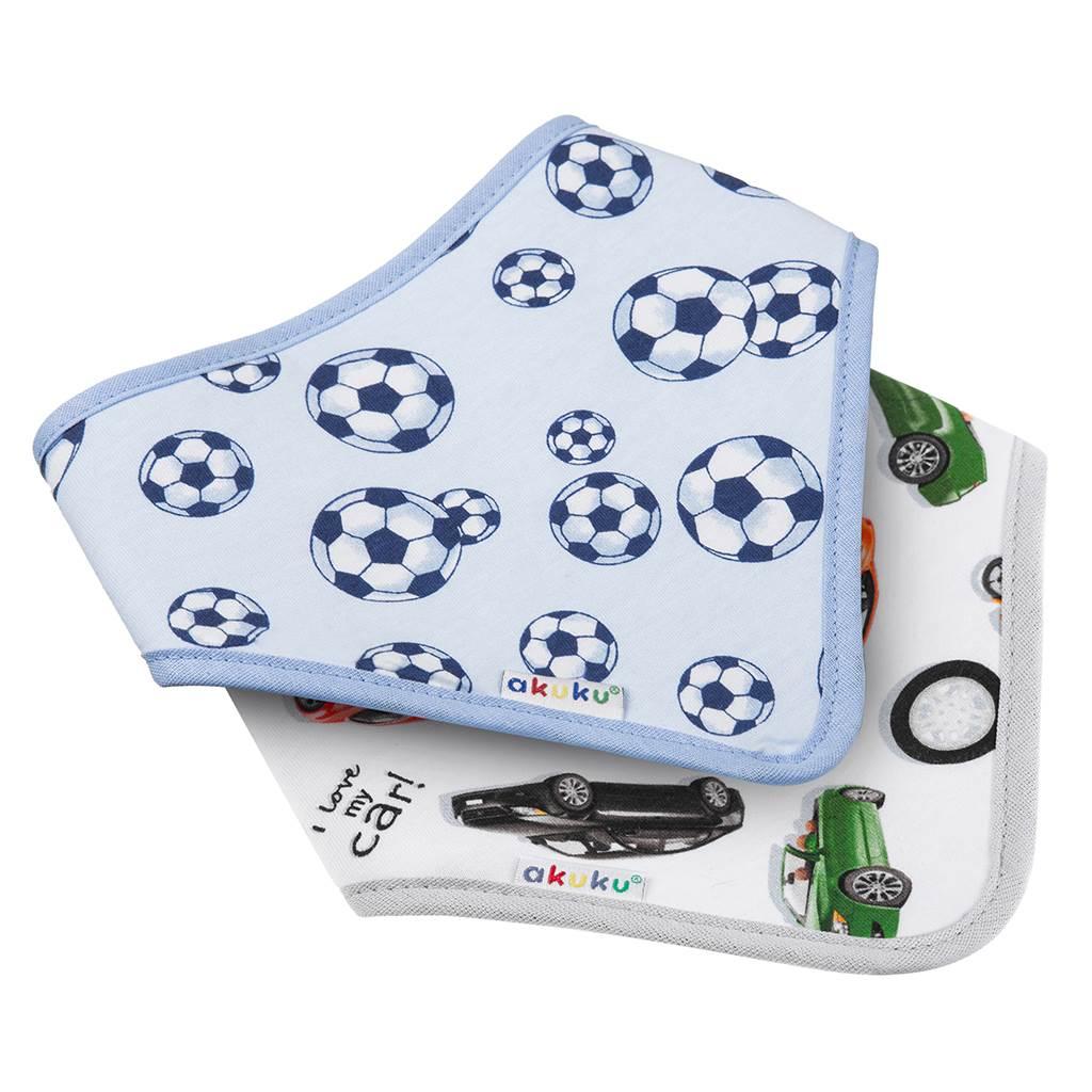 Dětský bryndáček-šátek Akuku 2 ks míč-auto - modrá