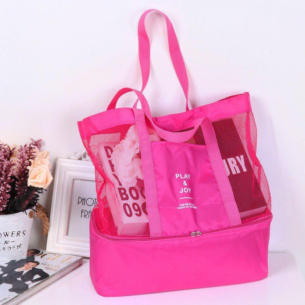 Plážová taška s termo přihrádkou - růžová