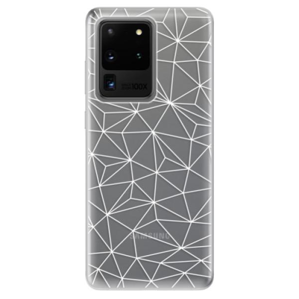 Odolné silikonové pouzdro iSaprio - Abstract Triangles 03 - white - Samsung Galaxy S20 Ultra