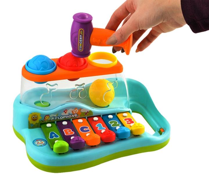 Tulimi Vzdělávací xylofón s barevnými balónky a kladívkem