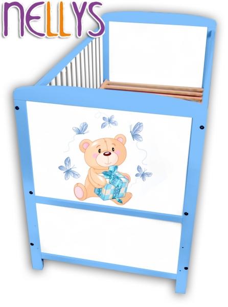 Dřevěná postýlka Nellys modrá s Míšou - 140x70