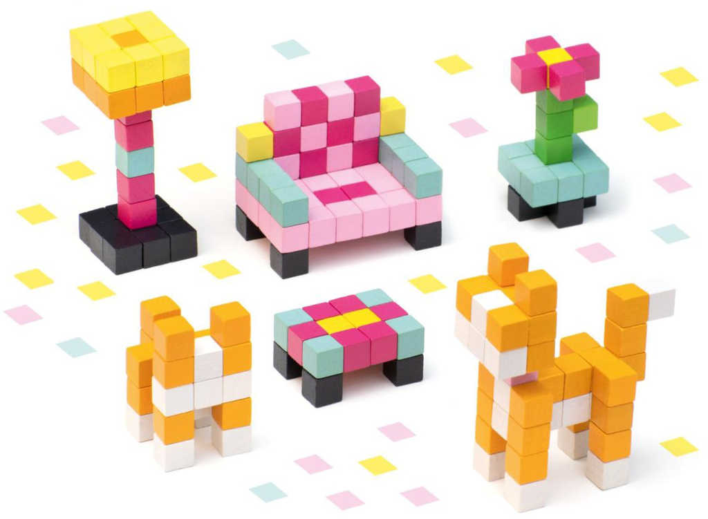 CUBIKA DŘEVO Pixel Stavebnice 3D Pokojík s kočičkou 200 dílků 1x1cm