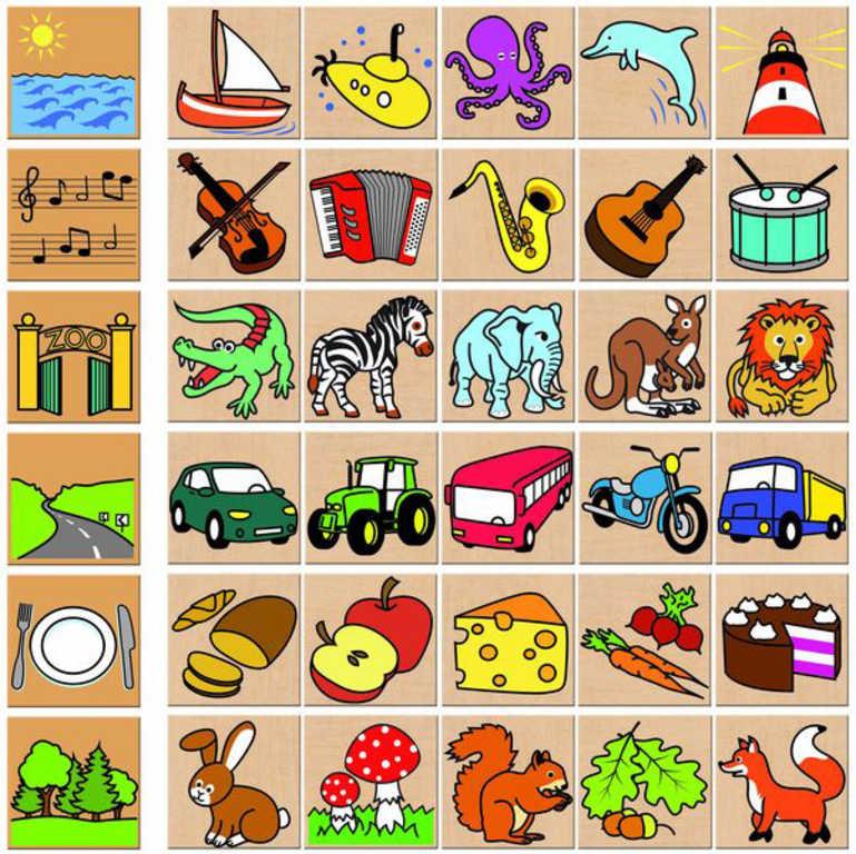 DETOA DŘEVO Hra Co kam patří? 36 dílků obrázková skádačka v krabici