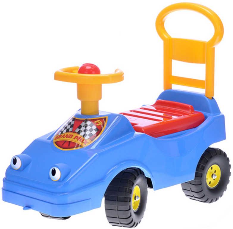 MAD Baby odrážedlo auto modré s klaksonem 54cm odstrkovadlo s očima