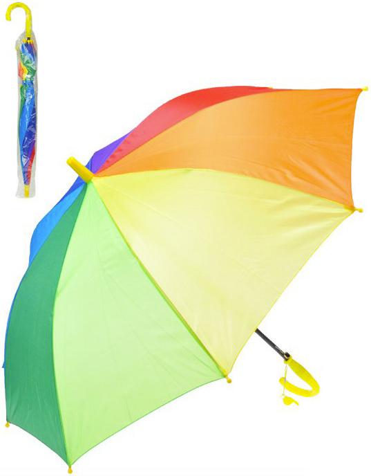 Deštník dětský barevný 66cm duhový vystřelovací v sáčku