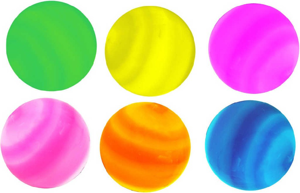 Míček galaxy skákací se světlem 5,5cm na baterie bliká 6 barev