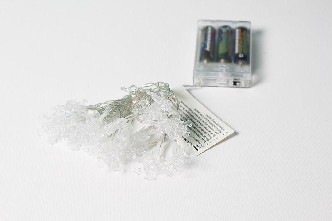 Vánoční světelný řetěz - sněhové vločky, teple bílý, 20 LED
