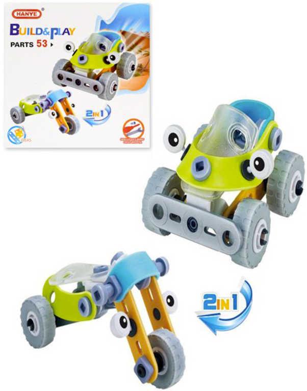 Build and Play stavebnice šroubovací Auto a Tříkolka 2v1 53 dílků v krabici