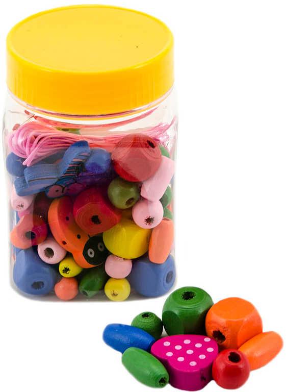 DŘEVO Korálky barevné navlékací v plastové doze *DŘEVĚNÉ HRAČKY*