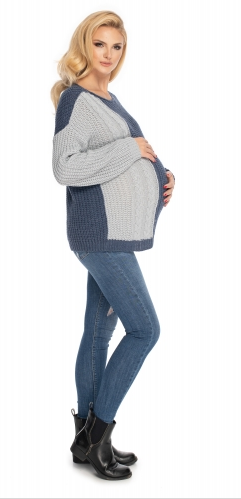 Be MaaMaa Těhotenský svetr, pletený vzor - jeans/šedá - UNI