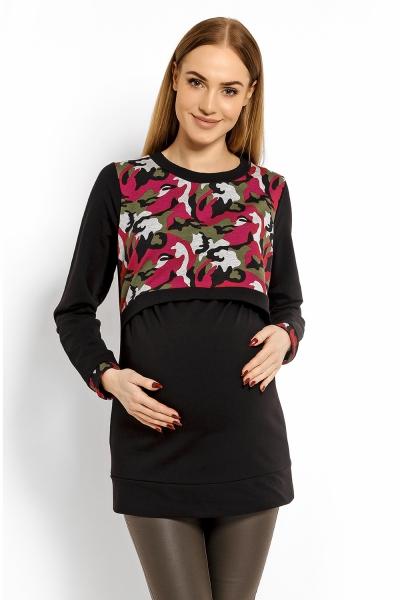 Těhotenská, kojící mikina ARMY - černá s