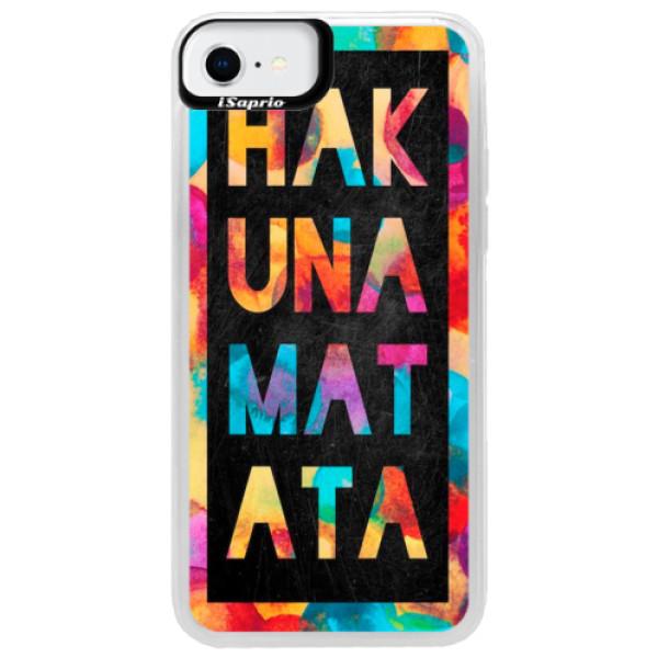 Neonové pouzdro Blue iSaprio - Hakuna Matata 01 - iPhone SE 2020