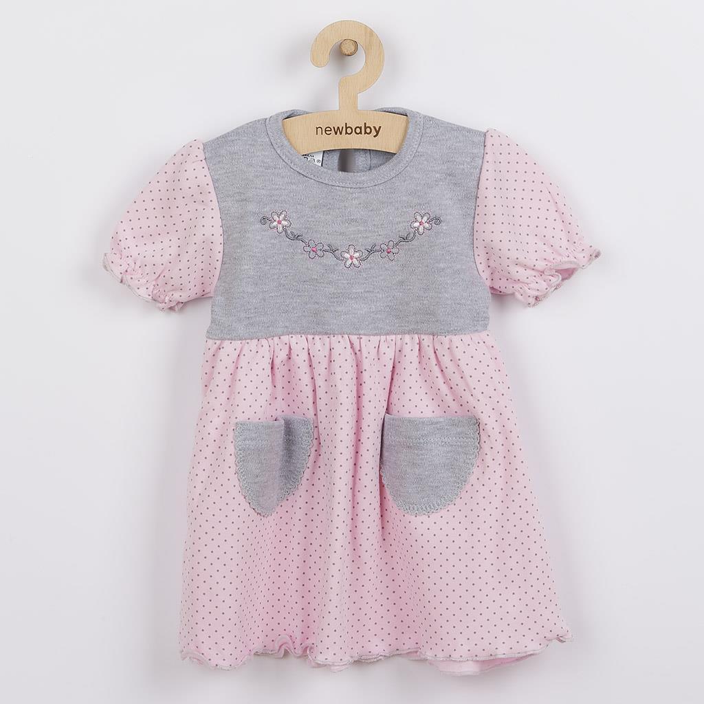 Kojenecké šatičky s krátkým rukávem New Baby Summer dress růžovo-šedé