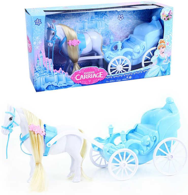 Kočár královský plastový set s česacím koněm zimní království v krabici