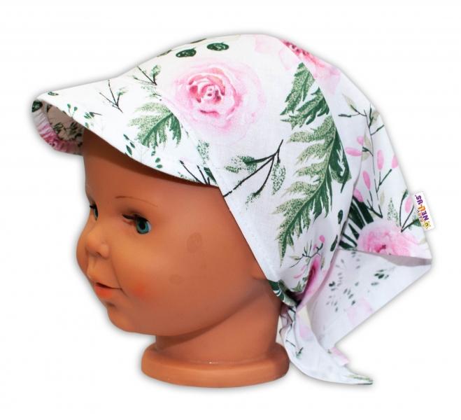 Baby Nellys Dětský šátek s kšiltem na zavazování Květy - růžový - uni