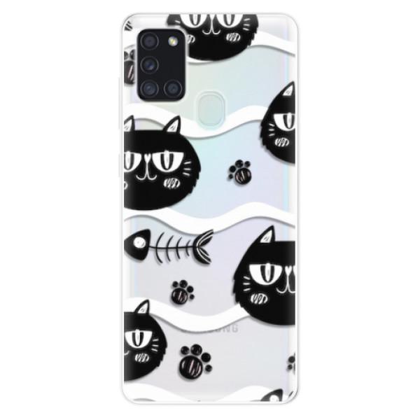 Odolné silikonové pouzdro iSaprio - Cat pattern 04 - Samsung Galaxy A21s