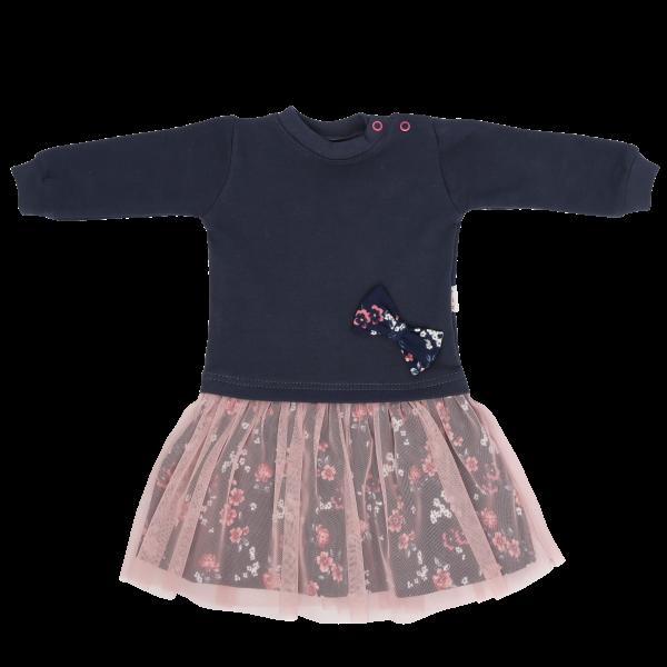 Mamatti Dětské šaty s růžovým týlem Flowers, granátovo-růžové, vel.
