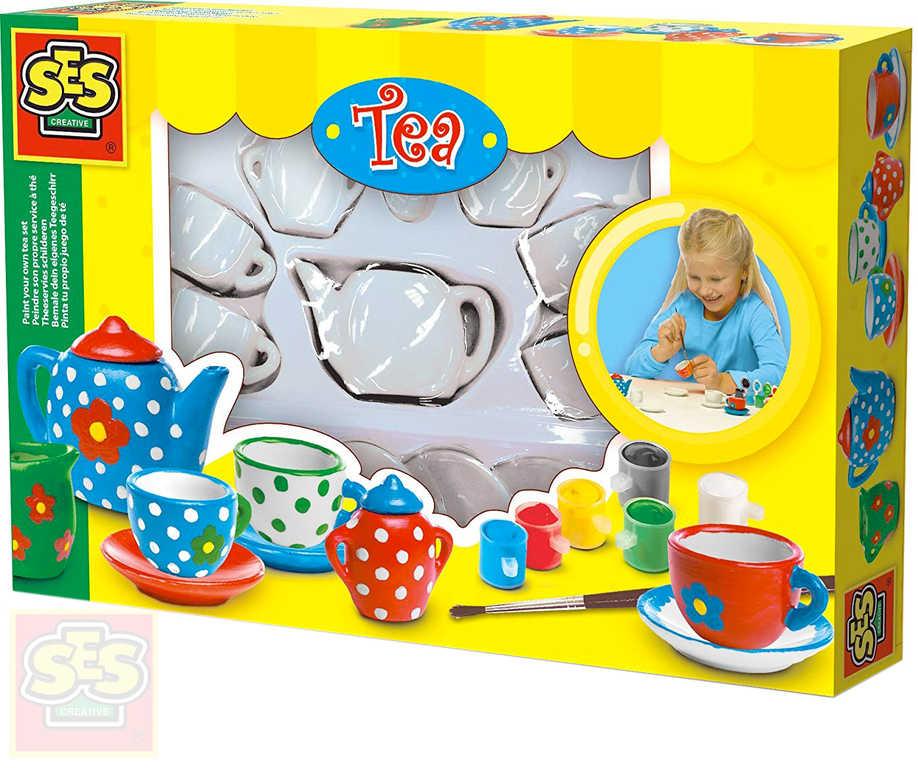 SES CREATIVE Malování čajové soupravy set dětské nadobí s barvami a štětcem