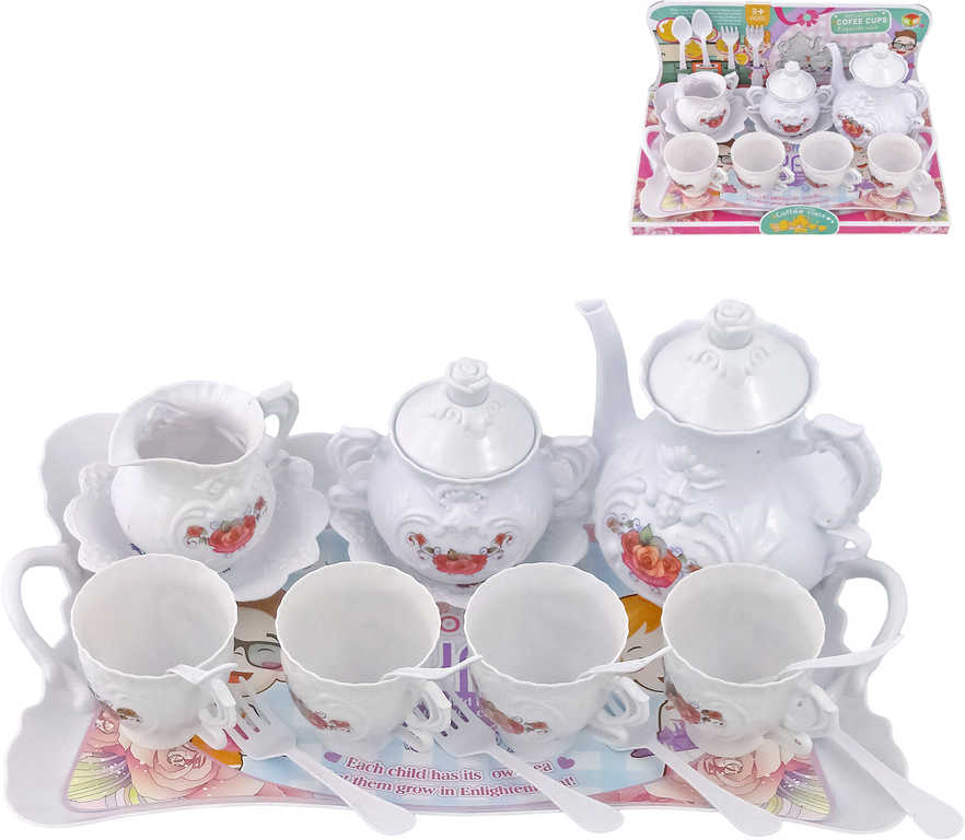 Sada na čaj dětský čajový servis zdobený s tácem a příbory plast