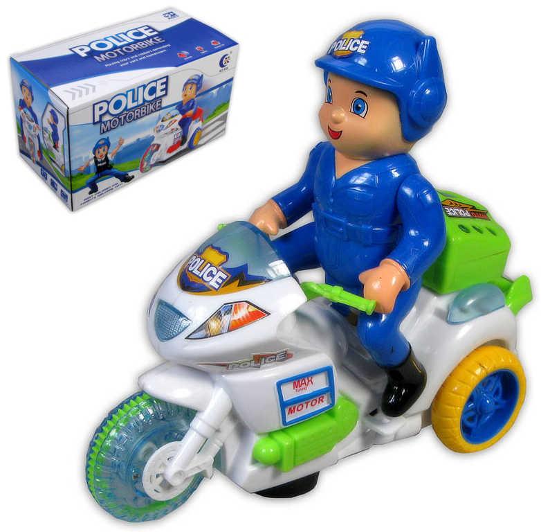 Motorka plastová policejní s figurkou strážníka na baterie - 2 barvy