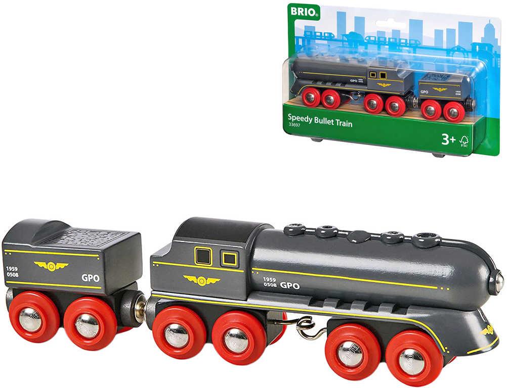 BRIO DŘEVO Set lokomotiva + vagon na uhlí vlak rychlá střela
