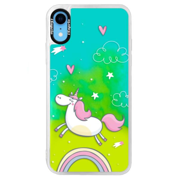 Neonové pouzdro Blue iSaprio - Unicorn 01 - iPhone XR