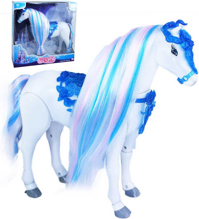 Koník česací chodící na baterie modrý zimní království řehtá Zvuk plast