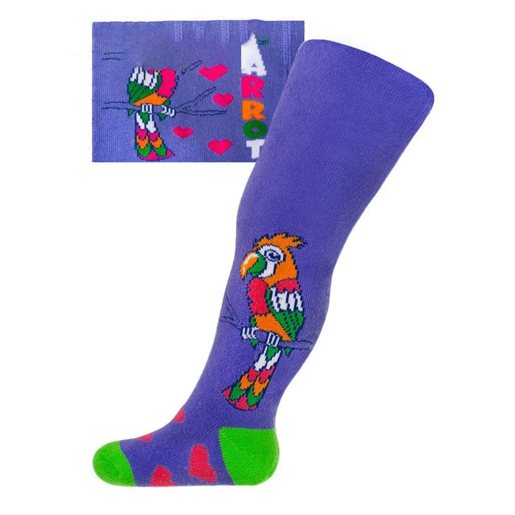 Froté punčocháčky New Baby s ABS fialové s papouškem - fialová/68 (4-6m)