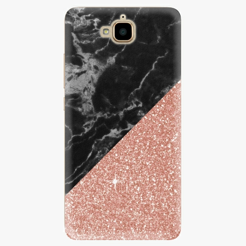 Plastový kryt iSaprio - Rose and Black Marble - Huawei Y6 Pro
