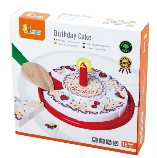 VIGA Dřevěný narozeninový dort na hraní, červený