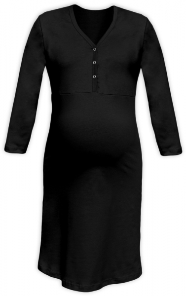 Těhotenská, kojící noční košile PAVLA 3/4 - černá - L/XL
