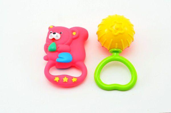 Zvířátko gumové+chrastítko plast 11cm - 5 druhů