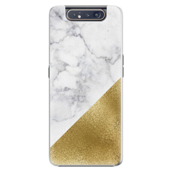 Plastové pouzdro iSaprio - Gold and WH Marble - Samsung Galaxy A80