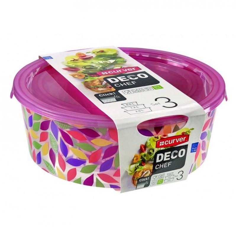 Sada 3 potravinových krabiček DECO CHEF - květy CURVER