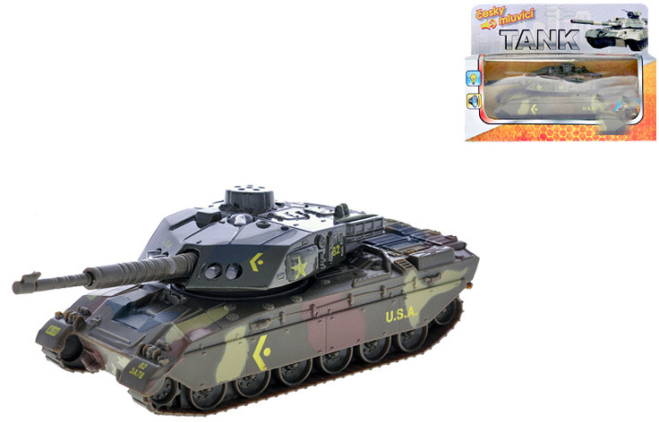 Vojenský tank 14cm zpětný nátah PB CZ mluvící Světlo Zvuk Kov