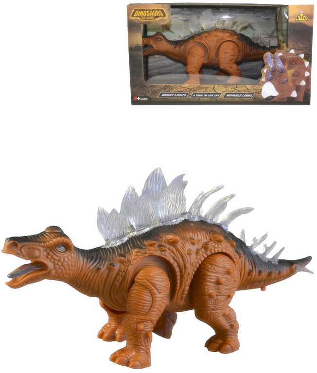 Dinosaurus plastový na baterie pohyblivý Světlo Zvuk 2 barvy v krabici