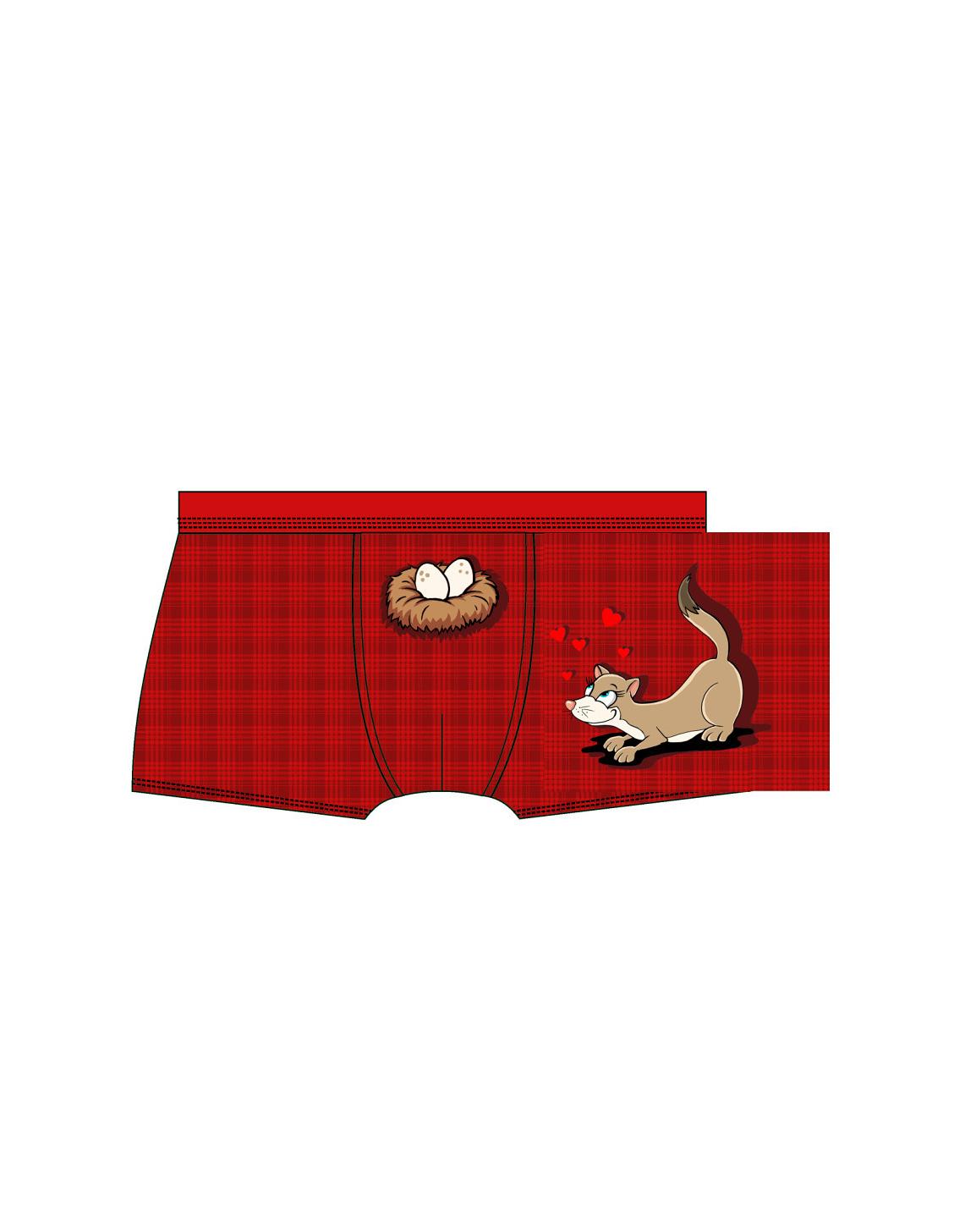 Valentýnské boxerky Cornette 010/49 Nest - Červená/XL