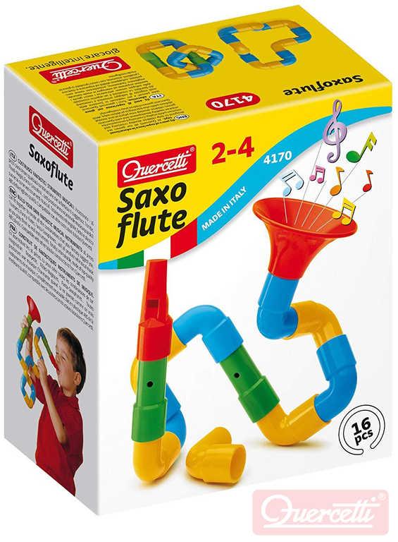 QUERCETTI Saxoflute výroba hudebních nástrojů stavebnice set 16 dílků v krabici