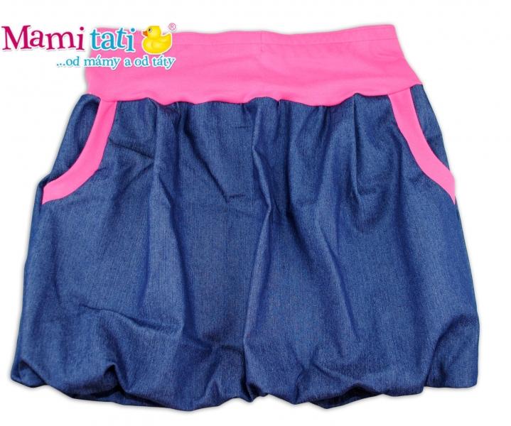 Balónová sukně NELLY - jeans denim granát/ růžové lemy - M/L