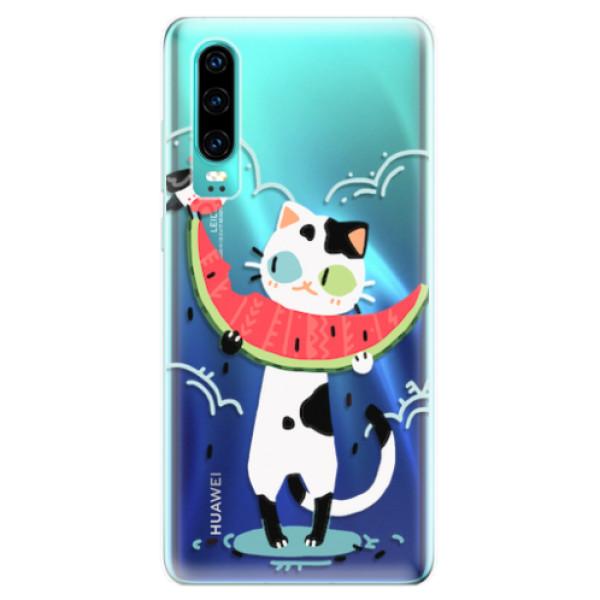Odolné silikonové pouzdro iSaprio - Cat with melon - Huawei P30
